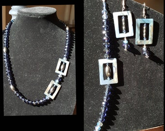 Navy Blue and Mother of Pearl Crystal Necklace Bracelet and Earring Jewelry Set