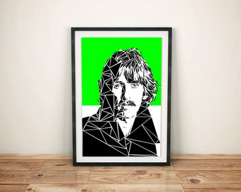 George Harrison Unique Contemporary Geometric Art print in lime green size A4 or A3