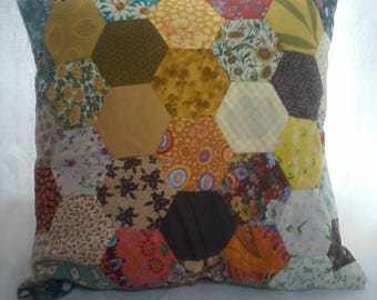 Sunflower-Multi-Coloured Up-Cycled Patchwork Cushion Cover