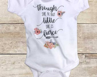 Though she be but little She is fierce boho hippie hipster flowers baby bodysuit baby shower gift - Made in USA - toddler kids youth shirt