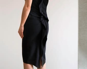 Lanvin Black Wool Dress With Signature Back Detail