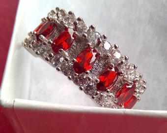 14k white Gold Filled, 1.73ctw, Garnet and White Sapphire, Ring Size 7