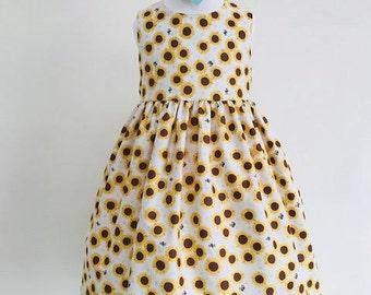 Eve,dresses, girls dresses, party dresses, girls clothing, baby girls clothing, girls fashion, sunflower fabric, handmade children's dress