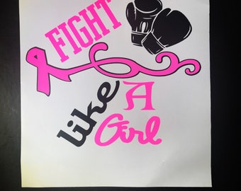 Fight Like a Girl || Breast Cancer Awareness || Pink Ribbon Decal || Sticker