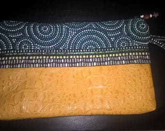 Yellow and green Croc Clutch