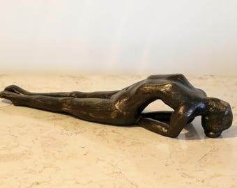 Asana Yoga postures the fish pose - Matsyasana by Nira, figurative bronze sculpture