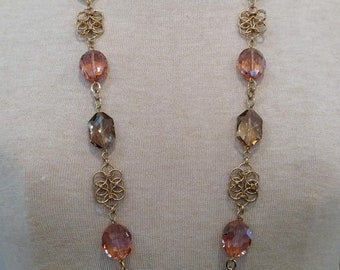 Long Peach & Champagne Chain Maille Necklace