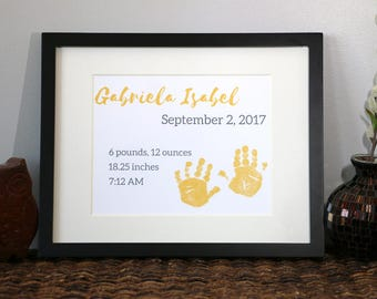 Custom Personalized Baby Handprints Birth Statistics Nursery Decor Art Print Horizontal