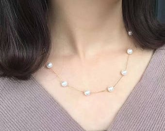 Freshwater pearl necklace with 14K gold chain