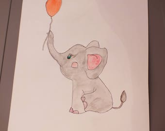 Watercolor illustration original elephant