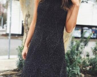 Vintage Black Midi Dress / Size Small / ECI New York / Simmer Sparkly Mini