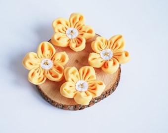 Yellow fabric flowers, fabric flower applique, craft flowers, DIY flower, headband supplies, wedding flowers, flowers decorating