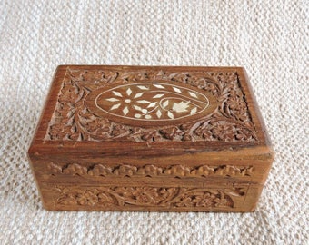 Vintage Hand Carved Indian Wooden Box   Carved Wood Trinket Box   Boho Home Decor   Ornate Wood Box   Wooden Jewelry Box   Box with Lid