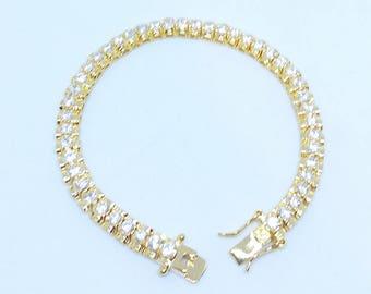 Bracelet - ref802 - plate gold - 19 cm approx. - set with cz