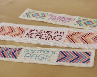 Sassy Bookmarks, instant download PDF cross stitch pattern, set of 3