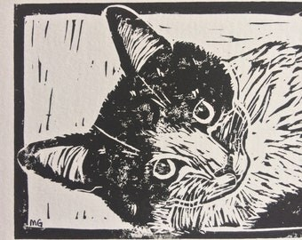 """Original, Unframed, Hand Pulled, Linocut Print - Disco the Cat- 6""""x4"""" on A5 Paper - lino ink paper"""