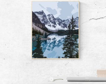 Mountain Lake, PRD Printable Download, Printable Landscape Art