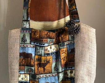 Re-Purposed Coffee Bag Tote, Woodland Theme