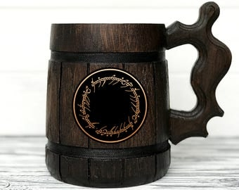 The One Ring Mug. Lord of the Rings gift. Hobbit Mug. Custom Beer Steins. LOTR Gift. Frodo Wooden Beer Tankard. Personal Gifts for Men #47