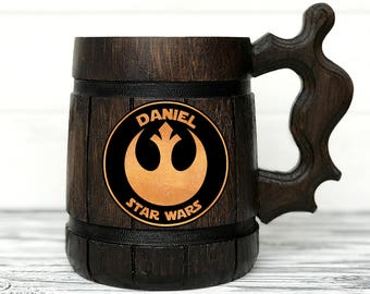 Star Wars Mug. Star Wars Gifts. Rebel Alliance Mug. Custom Beer Steins. Engraved Mugs. Wooden Beer Tankard. Personal Gifts for Men #46