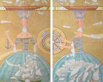 Custom Sheer Handpainted Curtains Panels Marine's histories Beige
