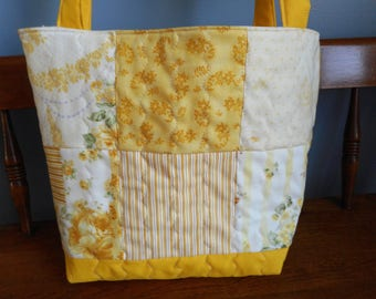 Small Yellow Quilted Tote Bag