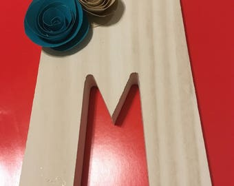 Letter M with paper flowers