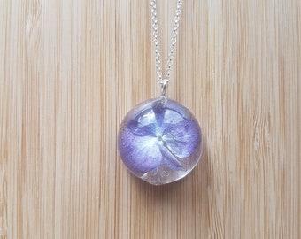 Real Purple Hydrangea Cabochon Necklace