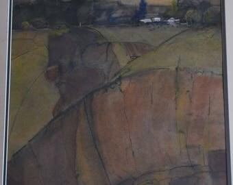 Green Hills original watercolor painting