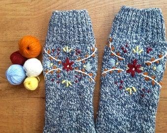 Hand Embroidered wool socks