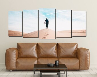 Sand Dunes Canvas Wall Art, Man Walking, California Desert Canvas Print, Large 5 Panel Big Sky Wall Decor