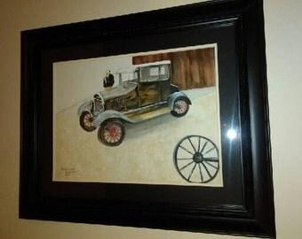 Vintage Automobile - Original Watercolor by Tahwahnah