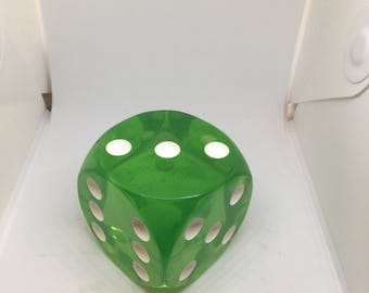 large green lucite dice 80mm
