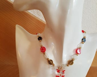 Necklace with Lampwork glass beads and small Murano dragon