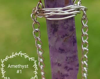 Amethyst Wire Wrapped Necklace. #1