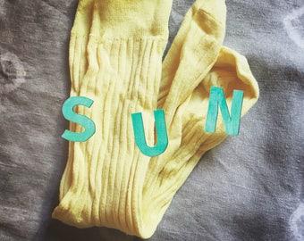 SUN natural dye 100% Cotton Socks eco friendly vegetable dye fruit dye yoga meditation organic mango yellow tropic