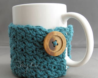 Crochet Mug Cozy with Wooden Button - Solid Color - Crochet Cotton Mug Cozy - handmade by JayRaeYarncrafting on Etsy
