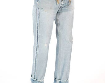 Redesigned Reversed Naturally Distressed Levi's 501 Denim Jeans