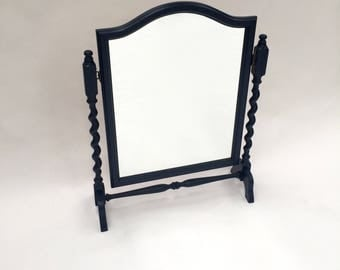Dark blue hand painted Barley Twist Mirror for a dressing table