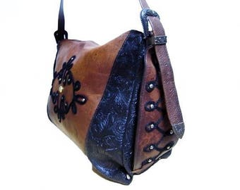 Fiber Street VINTAGE! 80s 90s vintage leather + synthetic leather & beautiful details bag