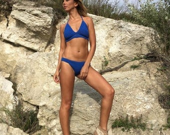Crochet Top Swimsuit  Boho Bikini Swimwear Croptop blue Woman