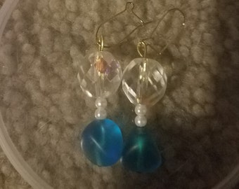 Blue, Clear and White Glass Bead Earrings