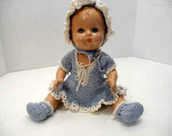 Composition Baby Doll with Crocheted Outfit
