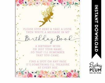 Fairy Birthday Guest Book Sign / Birthday Guest Book Poster / Woodland Floral Floral Pink Gold Watercolor / Digital Printable FY01