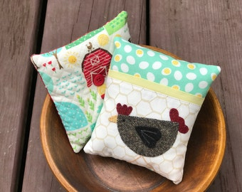 kits; pair of fun chicken and farm pincushions
