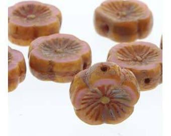 Czech Glass Hawaiian Flower, 12mm, 12 beads, Opaque Pink Travertine