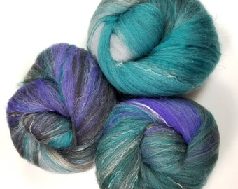 Transfiguration -- classic batts -- (4.6 oz.) organic polwarth wool, bamboo, yak, silk, sparkle.