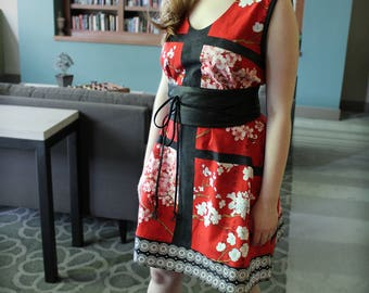 Swing Dress Red Block Cherry Blossoms