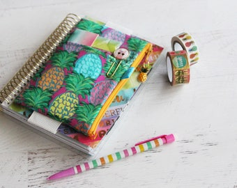 Pineapple planner cover - pineapple planner bag - zippered pouch - elastic planner pouch - pineapple pen case - planner accessories bag