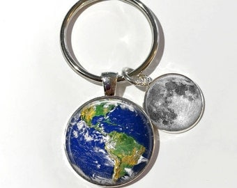 Earth and Moon Key Chain or Necklace - Space, Full Moon